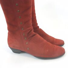 ARCHE Size 40 US9 UK7 Red Leather Nubuck Knee High Zip Studded Booties Boots
