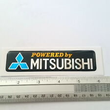 POWERED BY MITSUBISHI PLATE RESIN EMBLEM DOMED 3D CAR BADGE STICKER STRIPE_BLUE