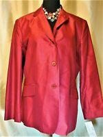 NWT Rena Rowan 16 100% Silk Red Wine Burgundy Lined Blazer Jacket