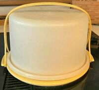 "Vtg 3Pc Tupperware 12"" Round Cake Taker Container Carrier w/Handle Harvest Gold"