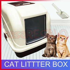 Portable Cat House Litter Tray Hooded Pan Set- Pet Kitten Kitty Toilet Box Scoop