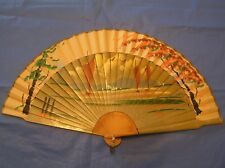 3pt8 VINTAGE HAND FAN MADE IN JAPAN HAND PAINTED BAMBOO & PAPER OCEAN SCENE