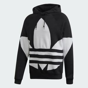 adidas Mens Originals Big Trefoil Hoodie S XS M L XL Black FM9908 Pullover