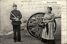 Unsere Artillerie Kanone Soldat mit Pickelhaube Stolz mit Frau ab Freiburg 1904