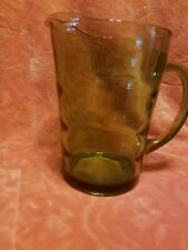 Vintage Avocado Green 64 oz Heavy Molded Glass Water Beverage Pitcher Rippled