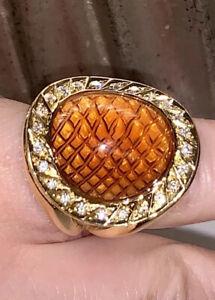 18k Gold Diamond Honey Topaz Ring Italy