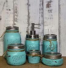 Sea Blue 6 Pc Mason Jar Bathroom Set distressed with chrome soap pump