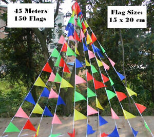 45m Super Long Rainbow Buntings Party Flags for Birthday Parties / Market Stalls