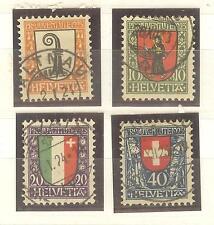 TIMBRES SUISSE PRO JUVENTUTE BLASONS OBLITERES ANNEE 1923 N° 192-95 COTE 60€