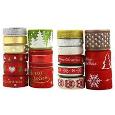 18 Styles Ruban de Gros grain en Satin Décoration de Noël Motifs Imprimés