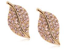 Mini Golden Topaz Rhinestone Encrusted Nature Leaf Fashion Button Earrings Studs