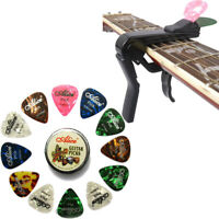 Guitar Capo Alloy with Pick Holder Design & 12 Celluloid Picks & Metal Pick Case