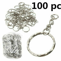 100Pcs Keyring Blanks 55mm Silver Tone Keychain Key Fob Split Rings Chain DIY UK