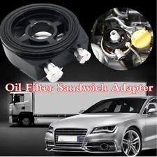 Black Oil Filter Sandwich Plate Adapter For Car Oil Temp Pressure Gauge Sensor