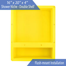 "Flush Mount - Leakproof 16"" x 20"" Double Bathroom Recessed Shower Shelf Niche"