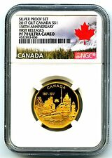 2017 CANADA SILVER PROOF LOONIE DOLLAR NGC PF70 UCAM GILT LOON 150TH ANNIVERSARY