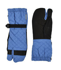 Men's Moncler Blue Quilted Cotton Leather Ski Gloves M New $350