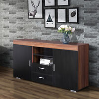 "57"" Black Wooden Storage Cabinet Sideboard Buffet Cupboard Kitchen Console Table"