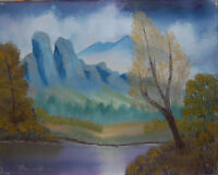 "Original Oil Painting ""MOUTAINS ACROSS"" on Canvas 20"" x 16"" (Art/Landscape)"