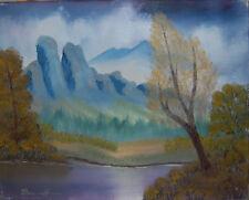 """Original Oil Painting """"MOUTAINS ACROSS"""" on Canvas 20"""" x 16"""" (Art/Landscape)"""