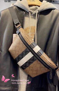 NWT COACH MEN'S Grade Belt Bag In Signature Canvas
