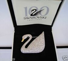 Signed Swan Swarovski 100 Year Booklet Pave Swan Brooch Pin