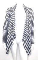 Calvin Klein Performance Womens XL Striped Open Front Cardigan Black Gray White
