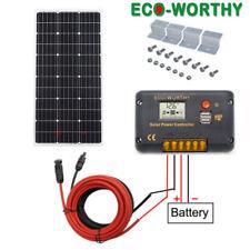 100W 12V Solar Panel Kit Mono Module w/ 20A LCD USB Charging Controller RV Camp