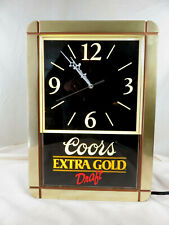 Vintage 1989 Coors Extra Gold Draft Wall Sign Clock Battery Operated 17x12�