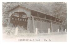 D77/ Cannonville New York NY Real Photo RPPC Postcard c50s Covered Bridge