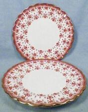 2 Spode Fleur de Lys Bread Plates Y7481 Red Bone China Gold Trim Scalloped Plate