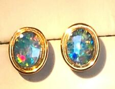 Australian Black Red Opal Oval Ladies earrings 14k solid yellow gold NEW Perfect