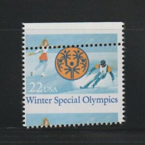 US EFO, ERROR Stamps: #2142 Special Olympics, skating, skiing. Angle misperf MNH