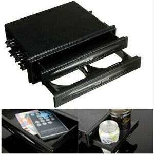 Double 2Din Dash Radio Installation Pocket w/Cup Holder Storage Box For Car SUV