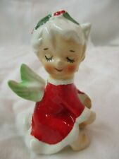 Vintage porcelain Candle Hugger Christmas Angel with Holly in Hair