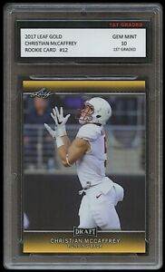 CHRISTIAN McCAFFREY 2017 LEAF DRAFT GOLD 1ST GRADED 10 ROOKIE CARD RC PANTHERS