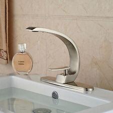 Modern Deck Mounted Nickel Brushed Bathroom Basin Faucet Brass Mixer Tap + Plate