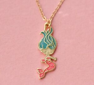 Little mermaid necklace gold plated pink mermaid pendant necklace girls gift