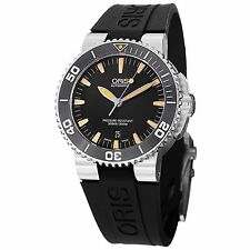Oris Men's Divers Black Dial Black Rubber Strap Automatic Watch 73376534159RS