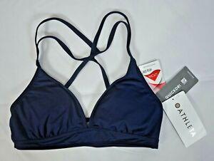 NWT $49 Athleta Size XS S M L Dress Blue Cross Strap Bikini Swimsuit Top #577461