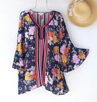 New~$79~Navy Blue Orange Lilac Floral Crochet Lace Blouse Boho Plus Size Top~1X