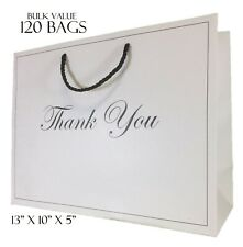 Large White Gift Bags with handles Bulk Lot Thank You Heavy Duty Paper 13 x 10