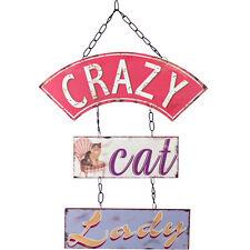 CRAZY CAT LADY Retro Metal Wall Sign Decor Vintage Art Plaque Hanging