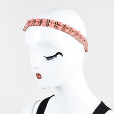 Chanel Gold Tone Metal Chain Link Coral Pink Elastic 'CC' Headband