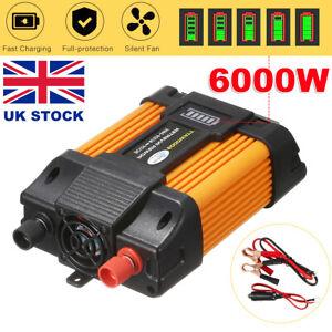 6000W Car Van Power Inverter DC 12V to AC 240V Sine Wave Dual 2USB Converter  UK