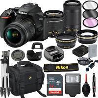 Nikon D3500 DSLR Camera w/ AF-P DX 18-55mm VR & 70-300mm VR Lens 32GB Bundle