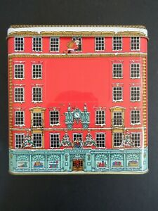 Fortnum & Mason Collectable Christmas red empty biscuit tin store shop front