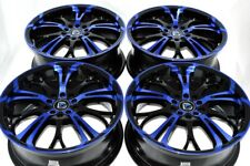 "4 New DDR R25 17x7 5x108/110 40mm Black/Polished Blue 17"" Rims Wheels"