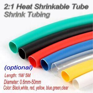 Heat Shrink Tube Wire Assortment Wrap Dia.0.6mm-50mm 1-5m Multi-color
