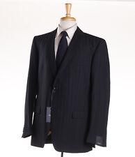 NWT $1395 Z ZEGNA Black Shadow Stripe Wool Suit 46 R (Eu 56) 'City' Model